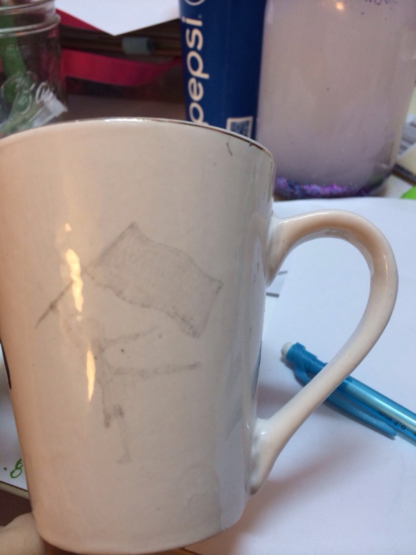 First use a pencil and draw what you're gunna want on your cup. So you can know what it'll be like and if you don't like it erase and fix!