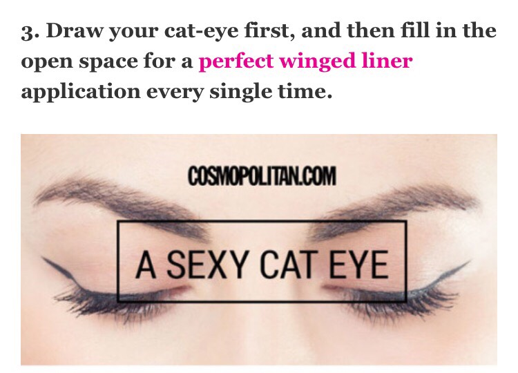 It's much easier this way. Use this tutorial as your guide.  --> http://www.cosmopolitan.com/style-beauty/beauty/how-to/a17882/cat-eye-liner-makeup-tutorial/