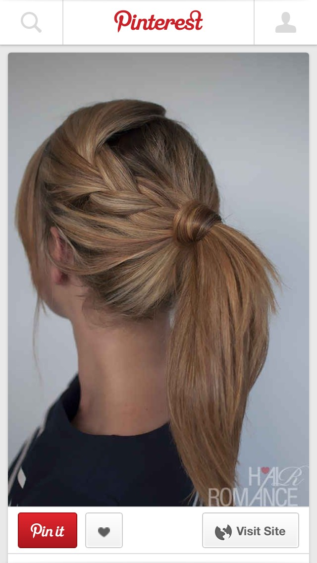 Braid front section of your hair at the side. Now take the rest of your hair and put it up into a ponytail. Take the braid and add to the ponytail. Now secure it with a bobble. Take a piece and wrap it around the bobble to hide it. Secure with a bobby-pin.  😊