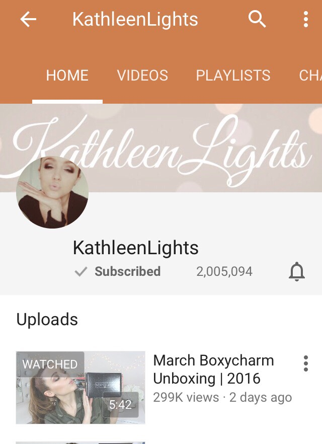 I absolutely love KathleenLights!! I have to watch one of her videos at least once a day. She is amazing she does blogs, makeup tutorials, makeup she loves and dislikes, hauls and many more things. I can never get enough of her.