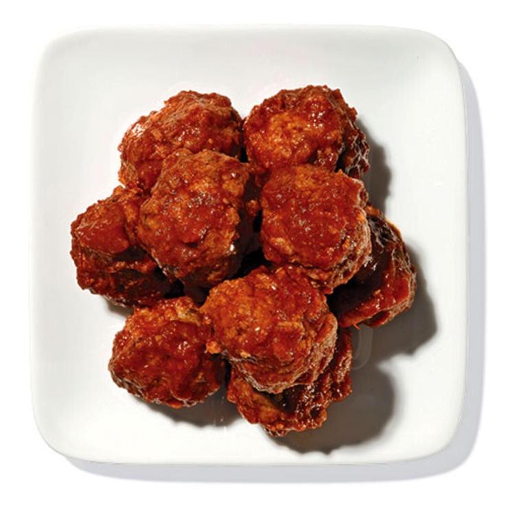 2 OZ VEGGIE LAND VEG-T-BALLS WITH 2 TBSP MUIR GLEN CHUNKY TOMATO SAUCE These low-fat vegetarian balls hit the spot.