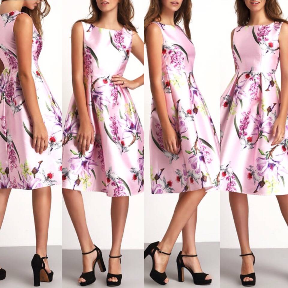 $21.99 http://m.romwe.com/Pink-Crew-Neck-Sleeveless-Floral-Flare-Dress-p-151055-cat-664.html