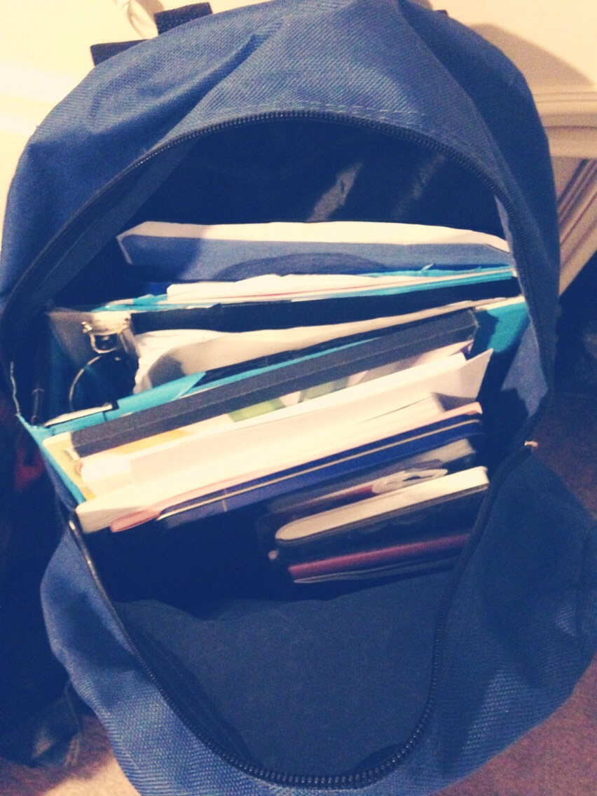 Use an old book bag to store art supplies ect