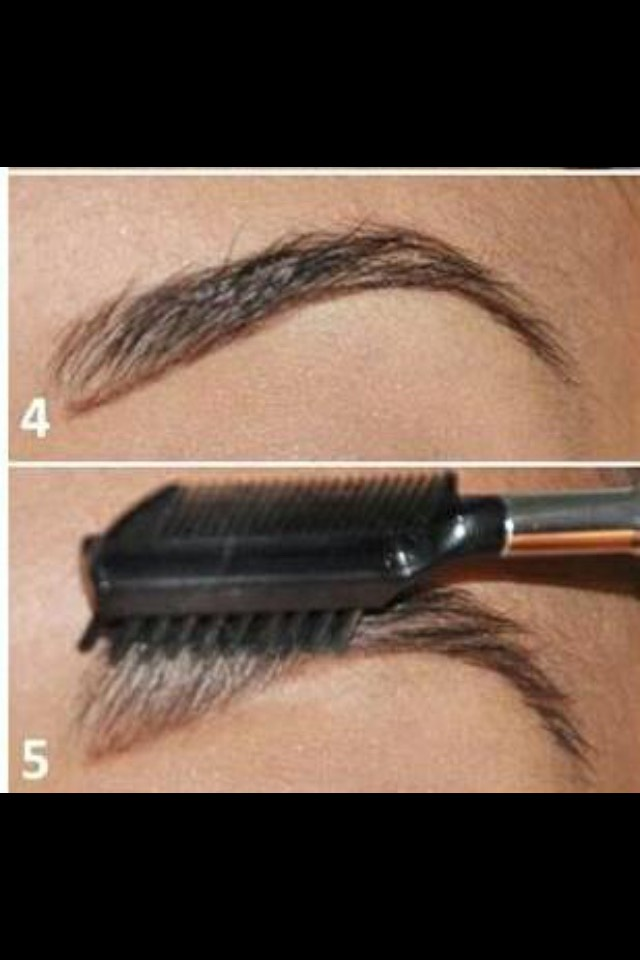 Next you outline your eyebrows with eyebrow pencil nearest colour to your hair colour if your brown haired or blonde, then I brush upward so I'm brushing the pencil into my brows
