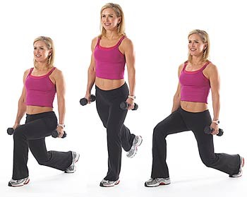 25 walking lunges (if you don't have a dumbbell use a jug of milk or a can of something)