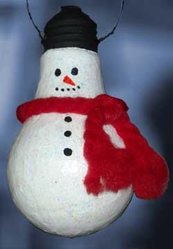 Take an old lightbulb, paint the top black and the bottom white. Take an old piece of string and glue it around the bulb for a scarf.  Take a black sharpie and make 3 dots as buttons, 2 dots for eyes, draw a mouth. Take an orange sharpie and draw a carrot for nose. Awsome snowman Christmas ornament.