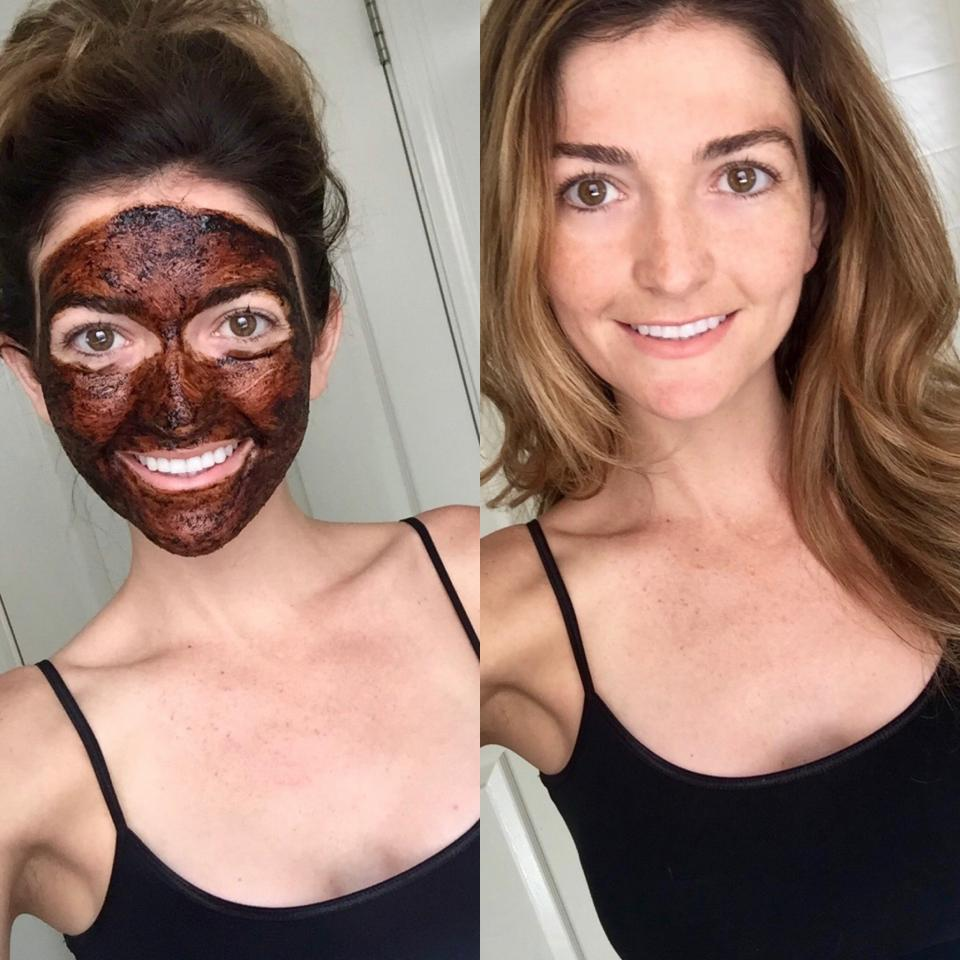 Here's a photo I took with the masque on, and after I washed it off 15 minutes later.