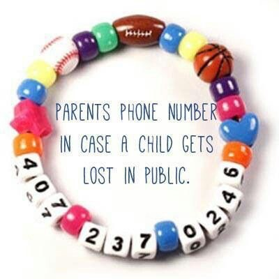 Make a Cell Phone Number Bracelet using Number Beads Great for when you are in busy areas like amusement parks or the zoo!