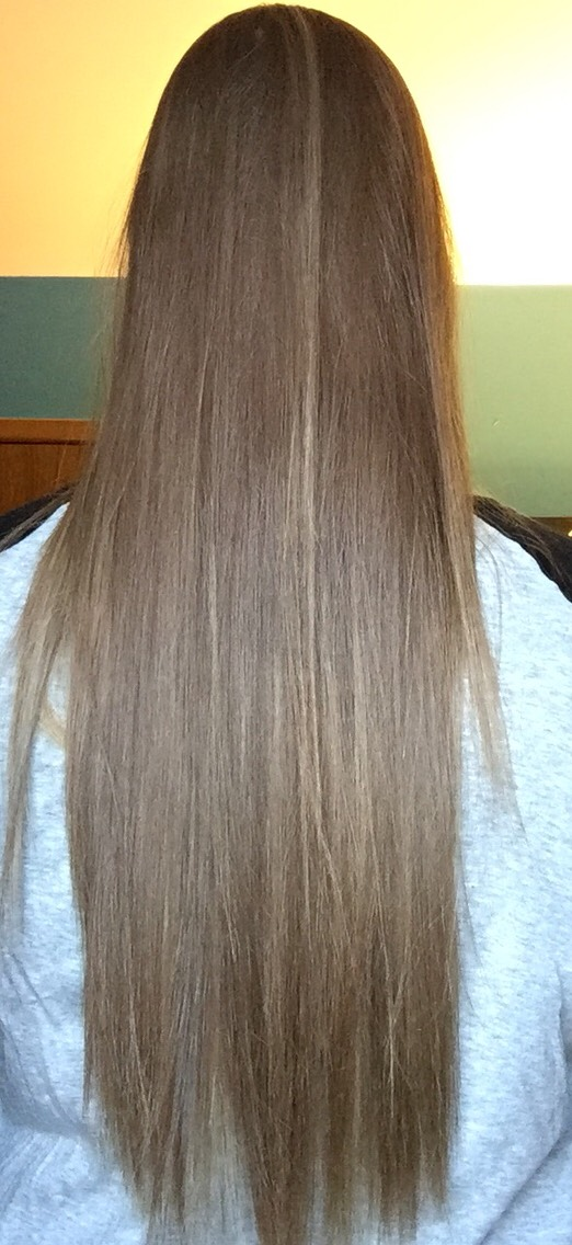 """March 2017 ( forgot to do this in February oops) I measured last week and my hair is now just over 26"""" I'm well on my way to donating in June!"""