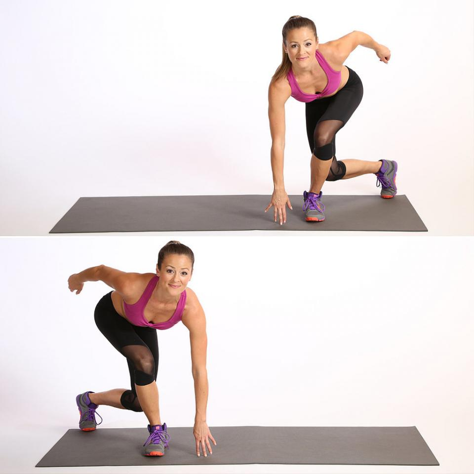 Circuit Two: Side SkaterStart in a small squat. Jump sideways to the left, landing on your left leg and crossing your right leg behind you. Bring your left hand to the floor squatting low in the cross-legged position. This completes one rep.Continue alternating sides for 30 reps.