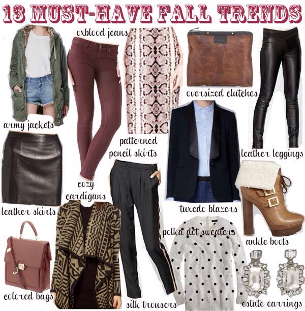 All of these are a must have for Fall. The colors are interchangeable between multiple looks.