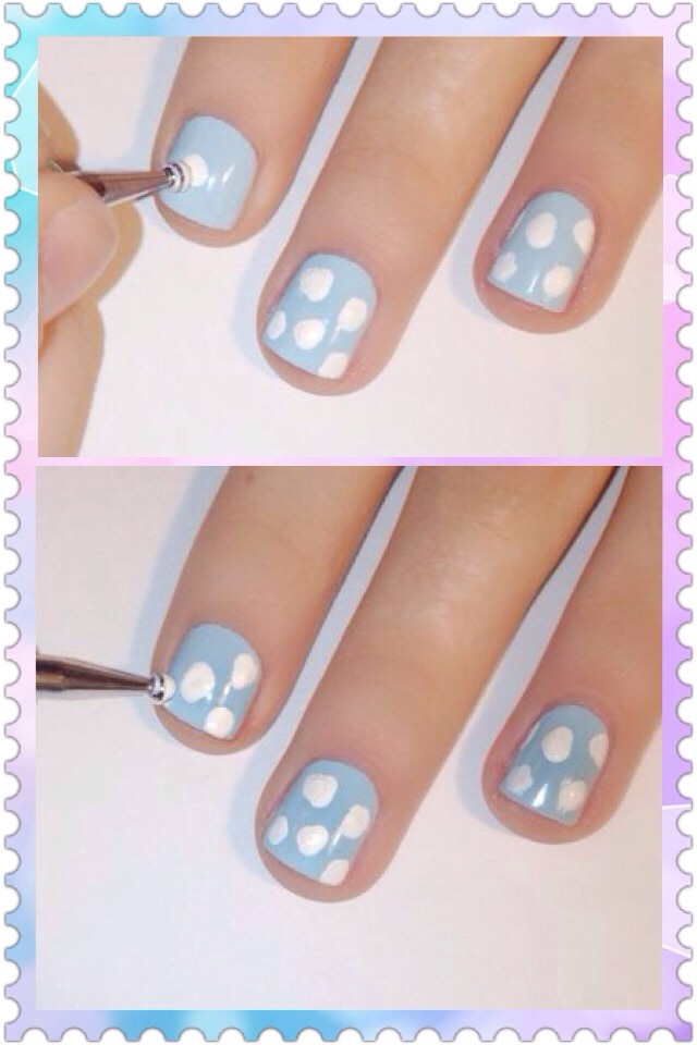 This next step is easier than it looks. You don't need to have perfect spots, it looks better when they're different. Dip the dotting tool into  the polish you are using, and place it on the nail and a circular stippling motion. I looks best when the dots come out looking like little clouds.