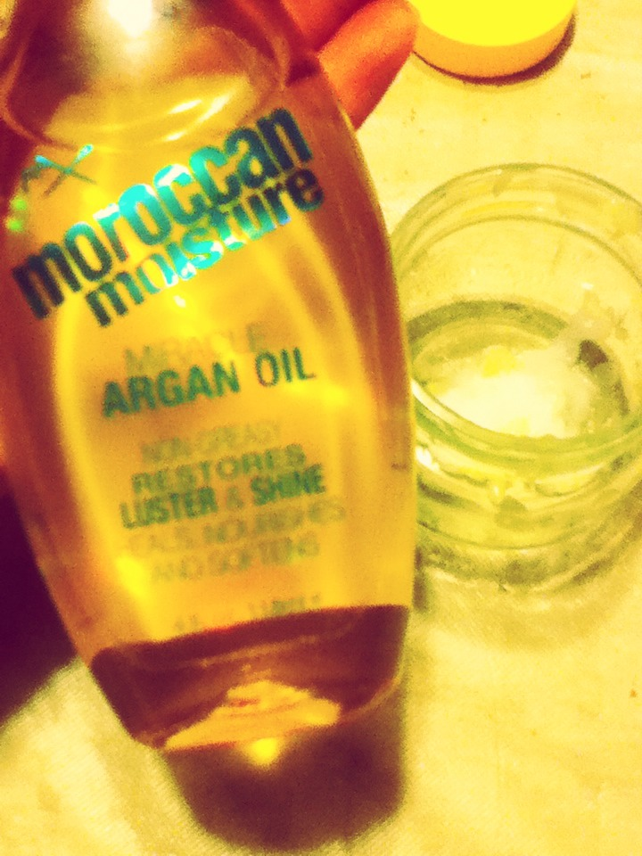 Add some argan oil. There no specific amount you need to add of any of the products. Add sone water and mix.