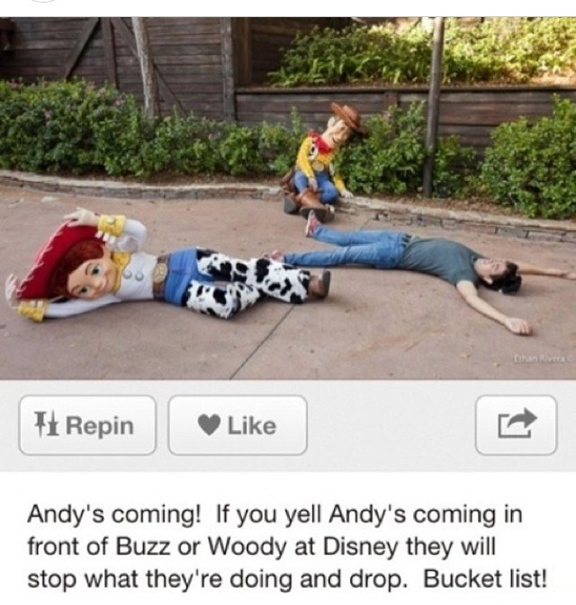 If you yell Andy's coming in front of buzz or woody they will stop what their doing and drop!