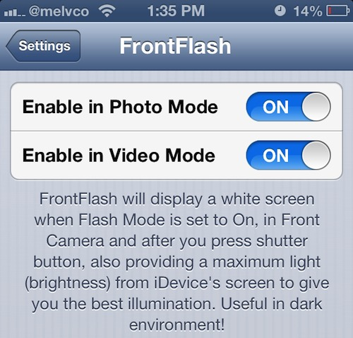 Download The Front Camera Flash App.