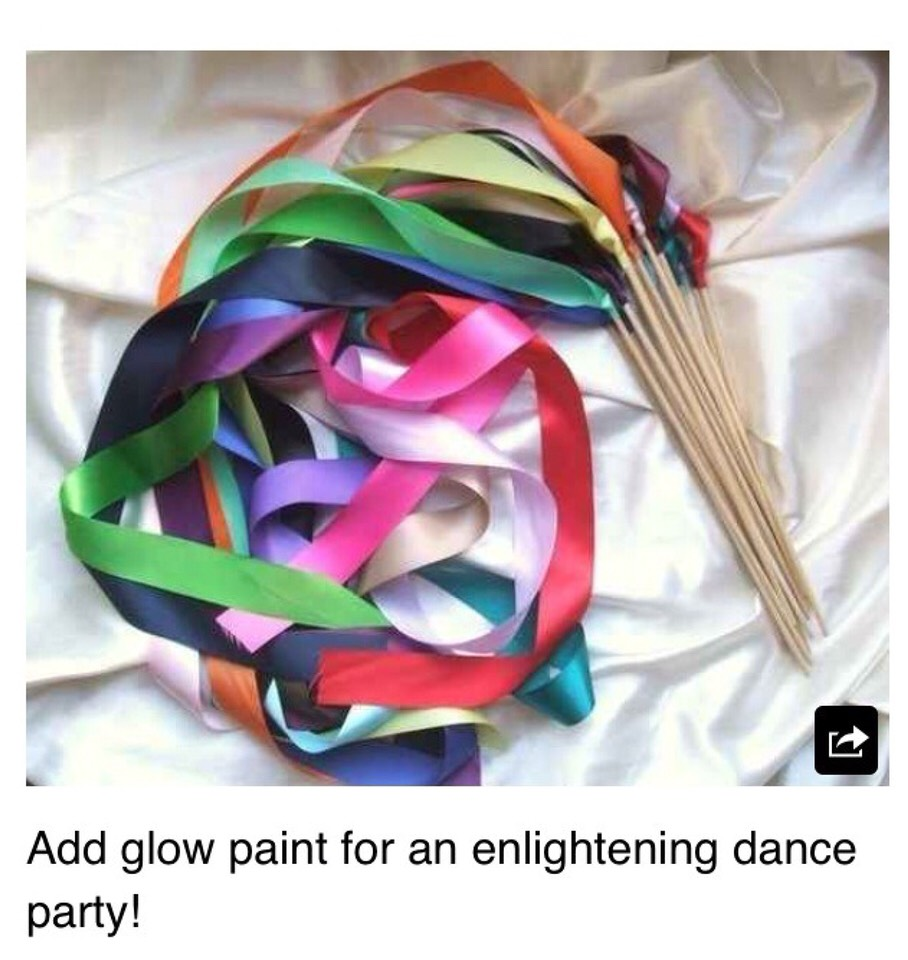 Make or buy ribbons. You can dip in glow in the dark paint and let dry