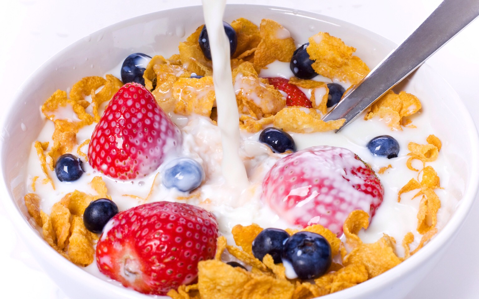 Breakfast Idea #1 healthy cornflake cereal with no added sugar (no frosted flakes etc) with a choice of 2-3 : strawberries, blueberries, raisins, raspberries, grapes, blackberries, a sliced banana, cranberries, or any other fruits of choice Whole milk, 2%, 1%, Skim or almond of your preference