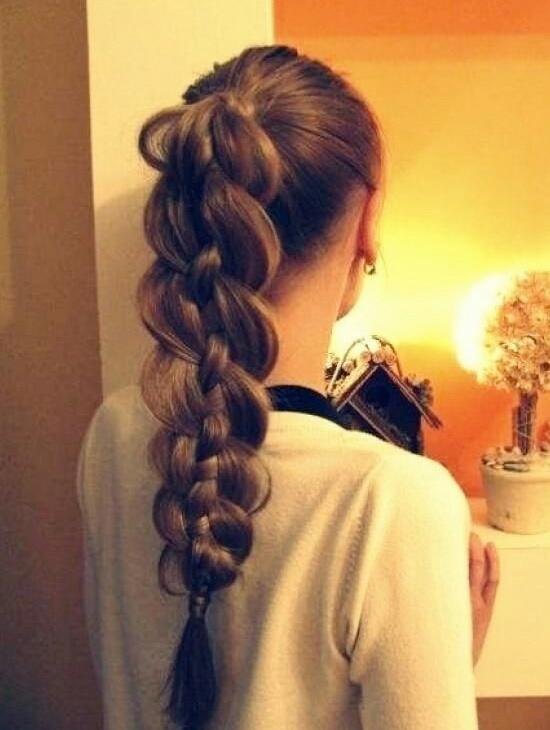 Thick braided ponytail