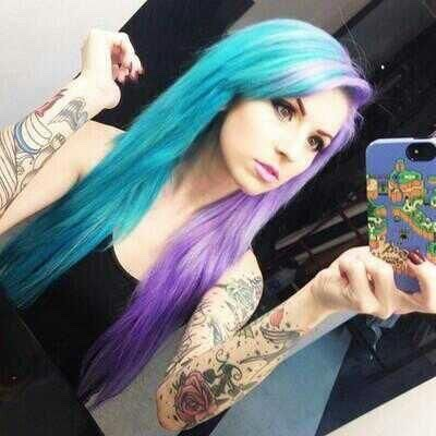 Half hair  Teal and violet  Another cool combination would be blue and purple