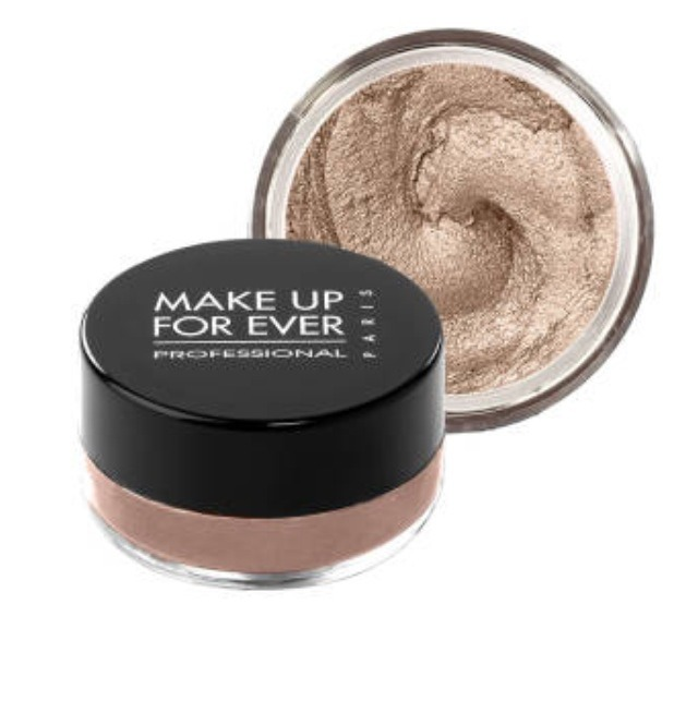 Make up forever pigment soaked cream shadow won't smudge no matter how soggy the weather is. It's even a favorite for Olympic swimmers. $23