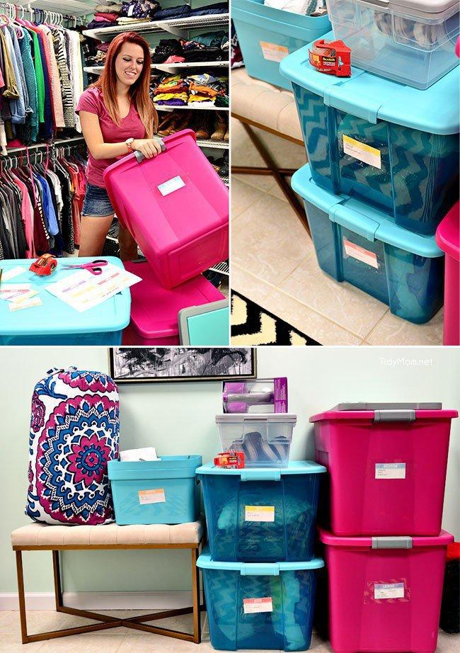 8. Label all boxes and bins.  Label all of the bins you are bringing with you with exactly what is inside, and make sure to label on the side of the bin for visibility when they are stacked. Also, it is helpful to number them so you know if you are missing anything.