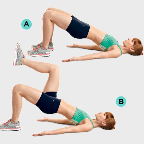 5. Glute Bridge March: If you like the glute bridge, ditch the dumbbell and try it with a march. This will have you working your core muscles as well as your glutes for an overall toning result. Click here for the instructions.