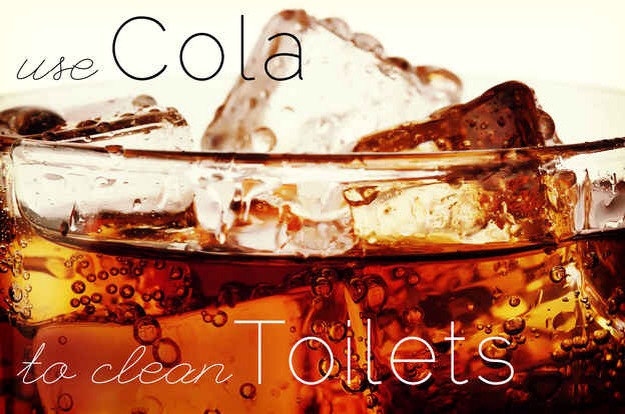Dump it into your toilet and let it sit for an hour. The cola eats through the grime. You won't even need to scrub