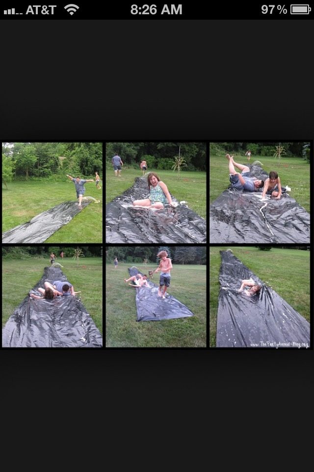 7.) HOMEADE SLIP IN SLIDE Use a simple tarp like this then TAC it or nail it to the ground then wola you have your self a slip in slide exept all u need is the water!!