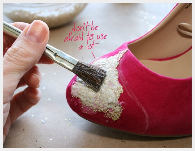 Starting with your big brush paint your Glitter/Mod Podge mixture onto your first shoe. I recommend starting in the middle of your design and working toward your edges. You will use your small brush to carefully paint the edges of your design.