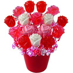 Instead of a regular rose bouquet, get then a bouquet of rose-shaped lollipops