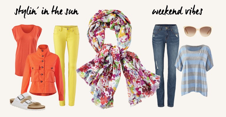 Add interest to summer solids with a vivid floral print scarf, or pair it with another pattern for a playful twist.