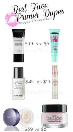 Primer is important to make sure your face makeup stays on all day long. It's especially important to use primers during the summer when it's muggy and you're guaranteed to get sweaty. Here are a few dupes for high end primers.