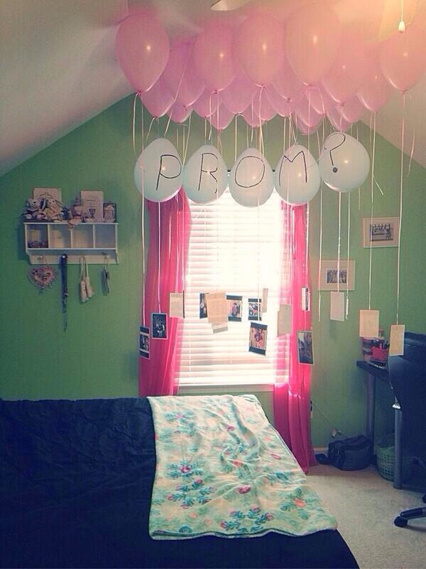 Just fill up balloons, tie pictures of you two, and write PROM?