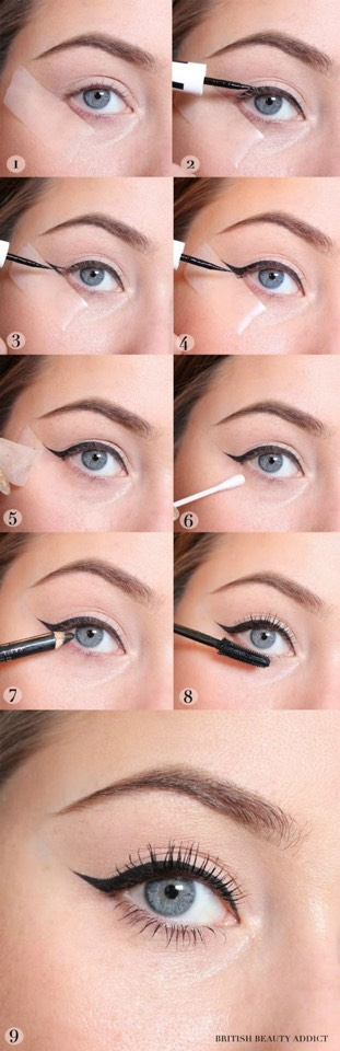 2. Create the perfect wing with tape. Okay, tape near your eyes might seem scary, but this is a great trick for make up lovers of all levels. Take a small piece of scotch tape and place it on your face along your lower lash line while applying your shadow and liner. Take off the tape and voila! A perfectly straight line. This can definitely help you create that ever-impossible wing with gel or liquid liner.