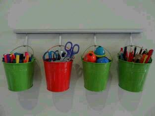 Buckets are a good choice for organizing art supplies, too