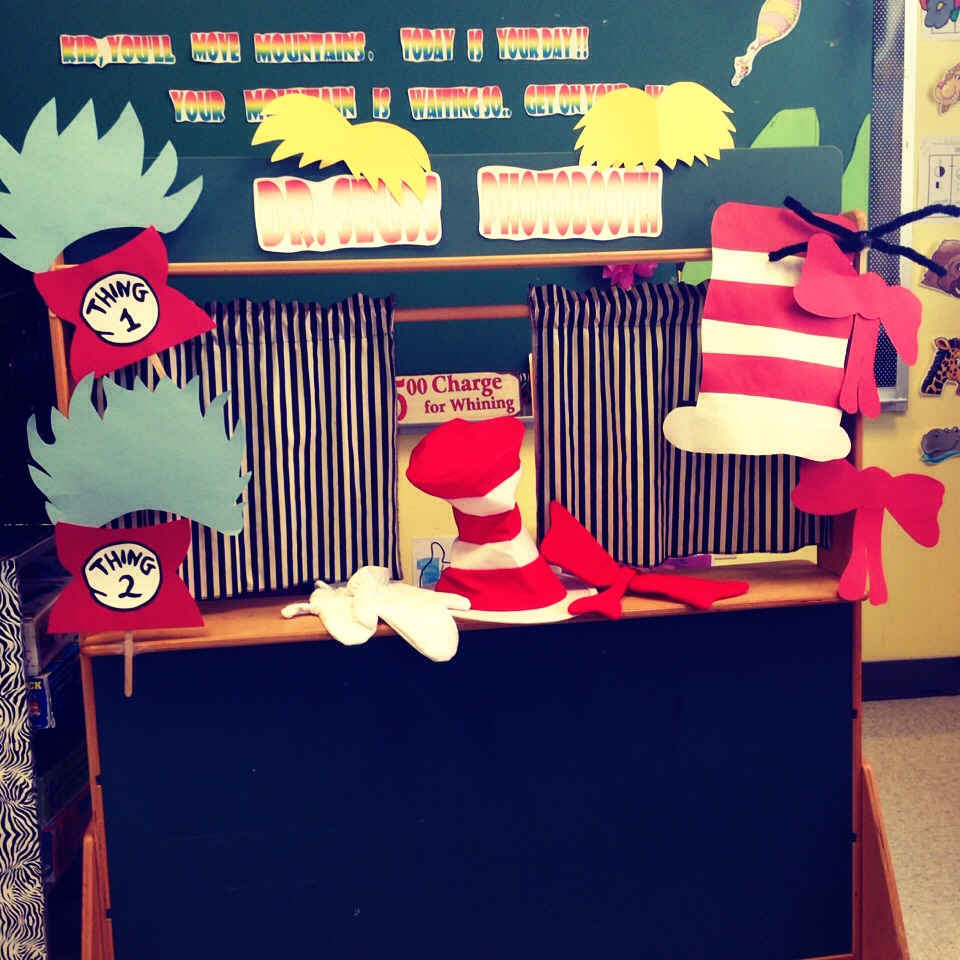 """I made """"costumes"""" depicting famous Dr. Seuss characters (cat in the hat, things 1 & 2 and the Lorax) and had children """"dress up"""" while we took photobooth shots to add to a collage to celebrate Seuss' birthday"""