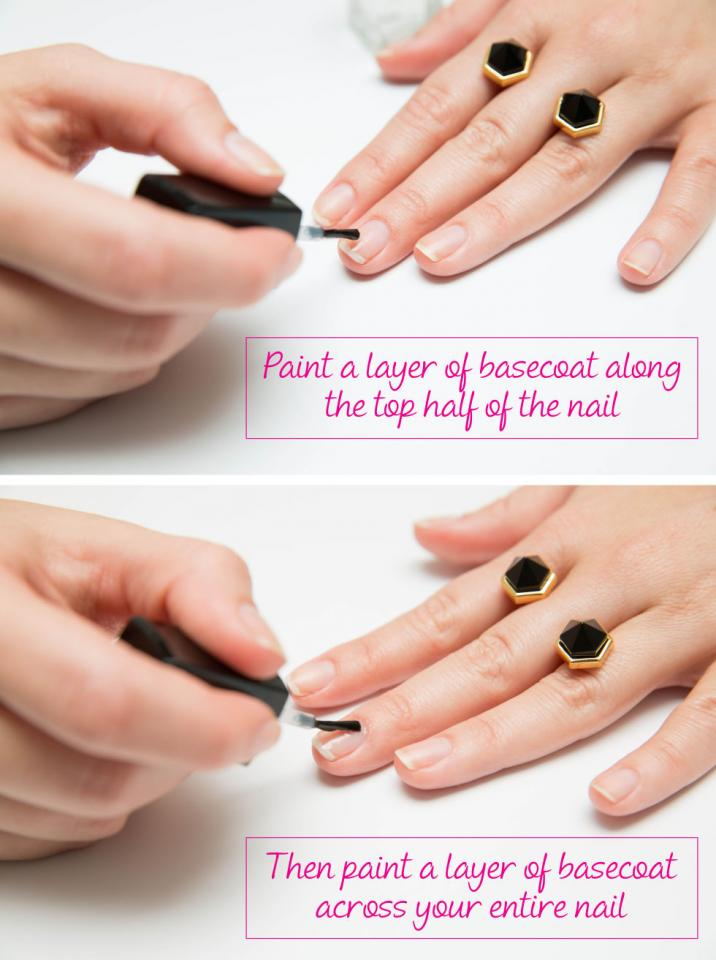 6. Apply two coats of basecoat to the tips of your nails. Nail tips are more prone to chipping (see: typing, texting, etc.). Apply another layer of basecoat to the top half of your nails for extra polish resilience.