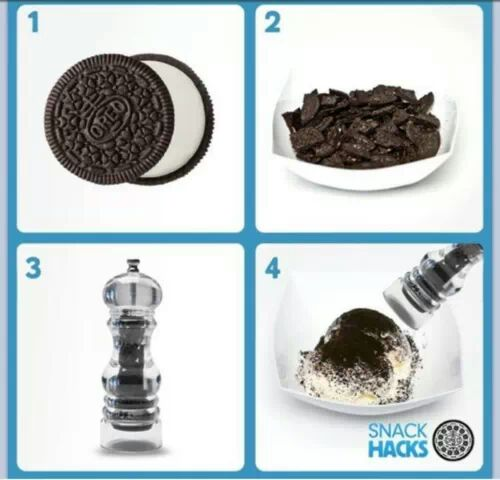 take oreo biscuits and put in grinder for a delicious topping