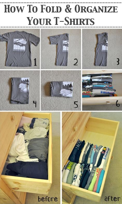 7. Folding T-Shirts in Horizontal Rows Folding and organizing your shirts in rows makes it easy to see and easily find the t-shirt you want. It also takes up a lot less drawer space.