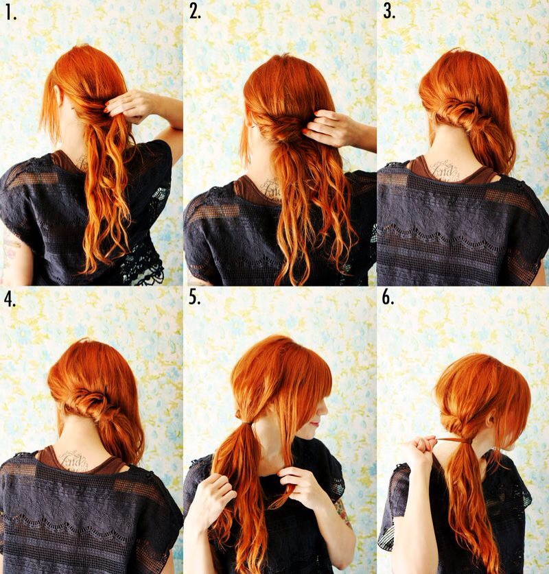 1. Begin by pinning a small section of hair at the back of the neck. 2-4. Continue pulling small sections of hair across and pinning along the base of the neck. 5. Continue until you can gather the hair into a side ponytail, leaving out a section in the front. 6. Tie off the ponytail
