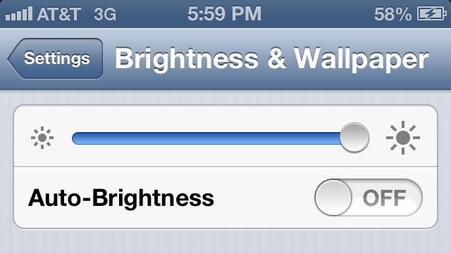 Another thing is brightness. Turn it down to the lowest setting.