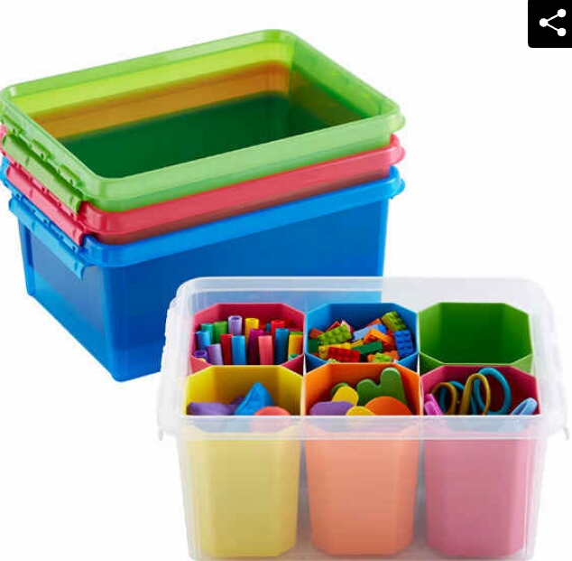 Color-coded storage containers. (11.99)  http://www.containerstore.com/s/medium-colorwave-smart-store-tote/d?productId=10036993&q=Medium%20colorwave