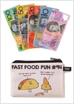 4. Always keep $20 or so for emergency cash. Or keep some coins in a little pouch. You can get these really cute ones from Typo