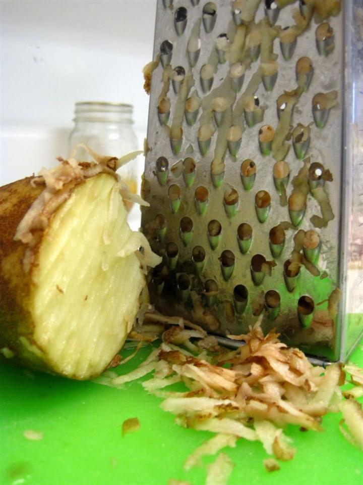 Cheese Grater: I can't count the number of sponges I've shredded while trying to clean my cheese grater. There is a better way! Right after u've shredded ur cheese, grab a potato &start shredding. The oxalic acid of the potato will quickly get that gunk &residue right off.
