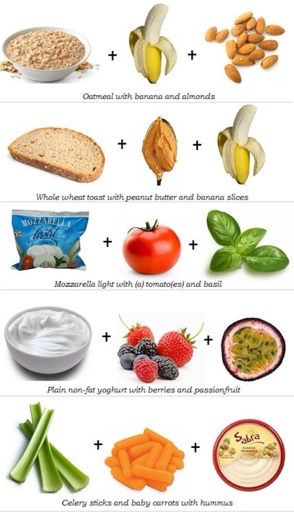 Try one of these as a snack! They all have tons of protein and low calories to keep you full till your next meal(:
