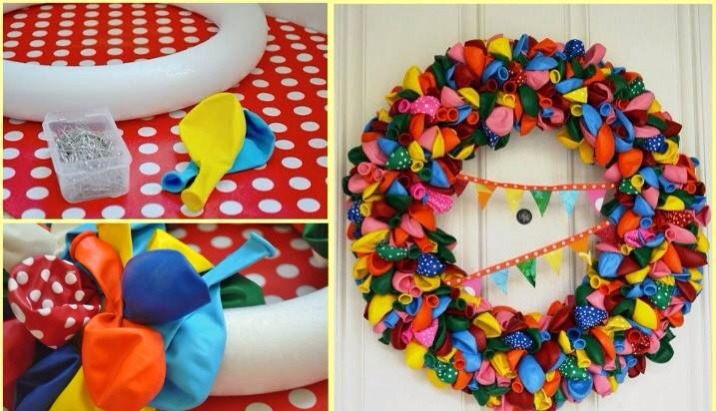 You can create a beautiful and colorful wreath.You will only need a Styrofoam wreath, lots of balloons in your favorite color and pins. Start to pin the balloons on the wreath, do not worry about where to place them, pin the balloons randomly to give a cool effect.