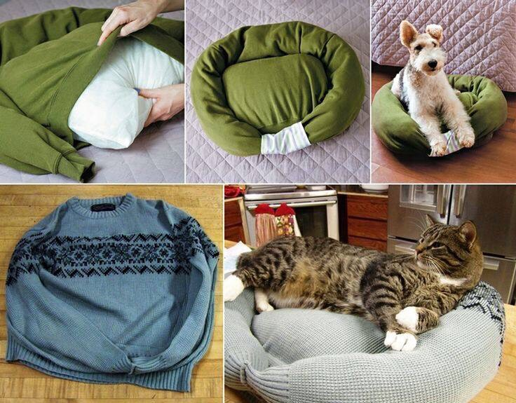 Take an old sweater, put a pillow in it and stuff the sleeves with stuffing. Then take the cuffs put one inside the other and sew the cuffs together and sew the top and bottom openings closed and you have your diy dog or cat bed.