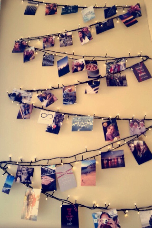 Finally attach your photos onto the fairy lights with the paper clips and enjoy your cute photo gallery.