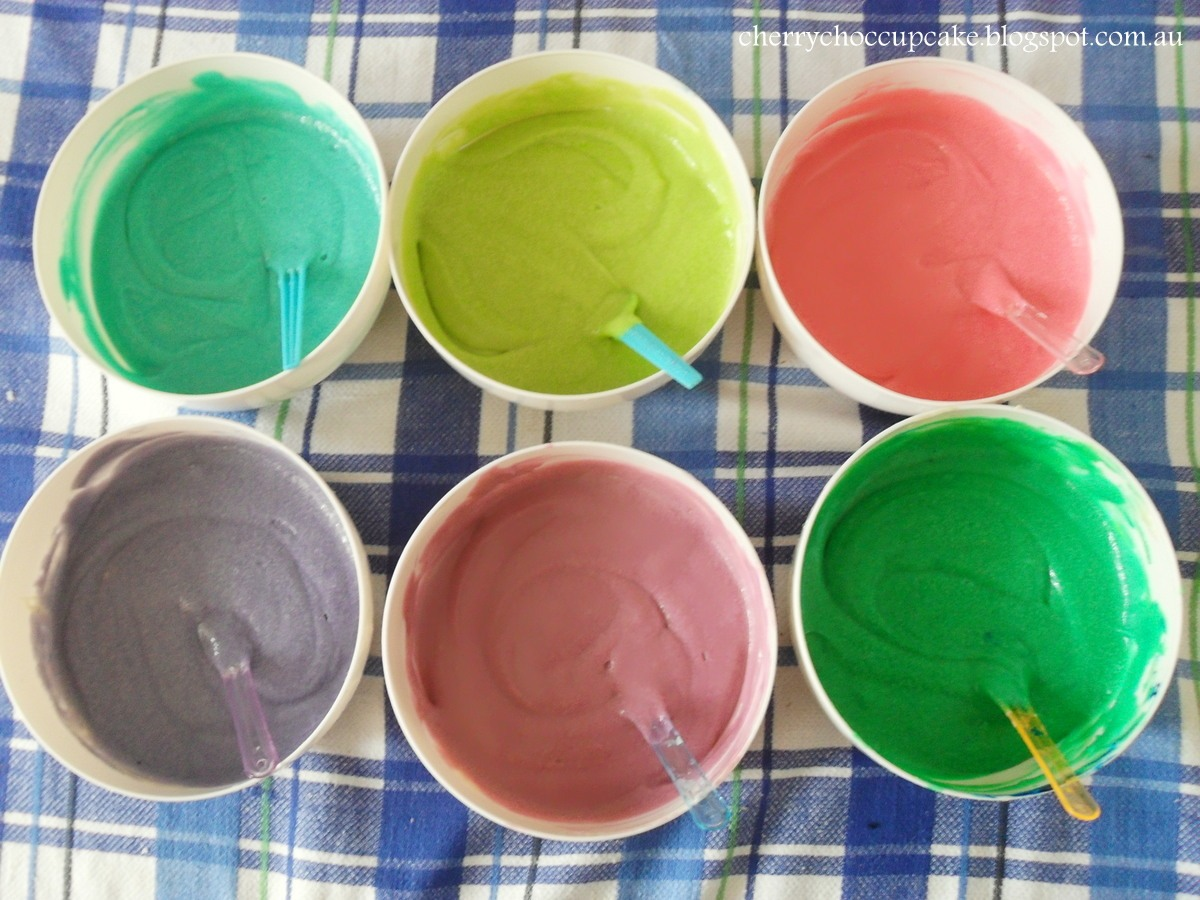 First, you take cupcake/cake batter and split it into bowls. Take food coloring and color the batter in the bowls whatever color you want
