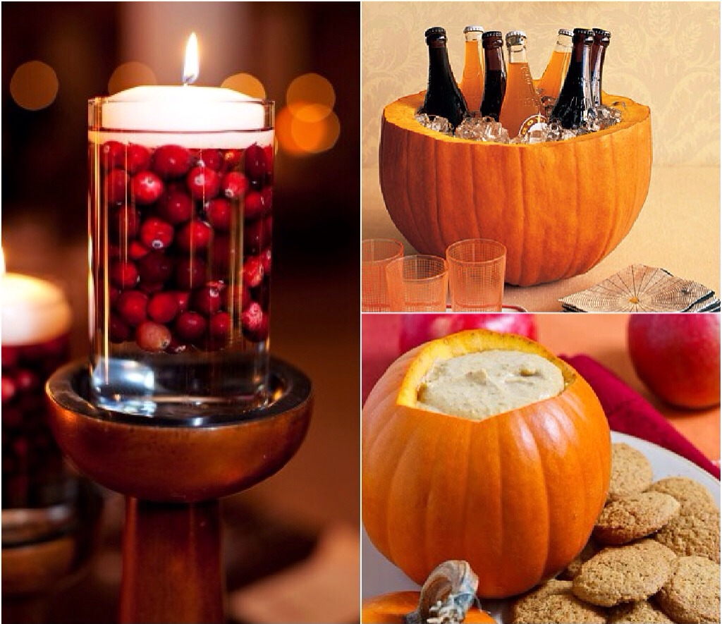 You Can Use Pumpkins As Festive Ice Holders Or Serving Bowls! Try Adding Whole Cranberries To a clear candle vase and top with floating votives for added flair!